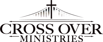 logo for Cross Over Ministries, a cross with a suspension bridge and text